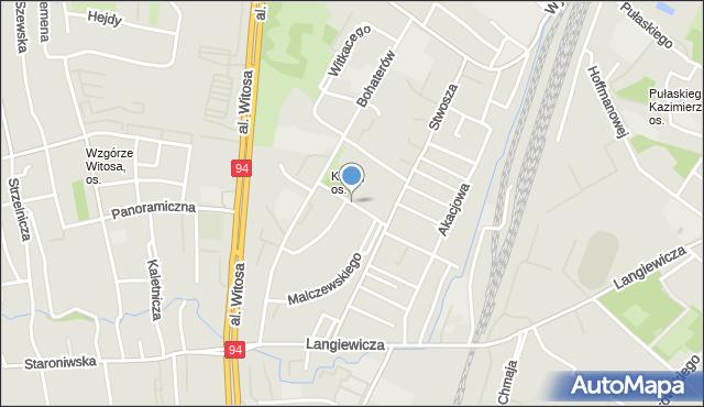 Rzeszów, Chruściela Antoniego, gen., mapa Rzeszów