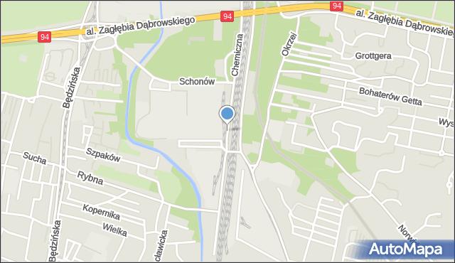 Sosnowiec, Chemiczna, mapa Sosnowca