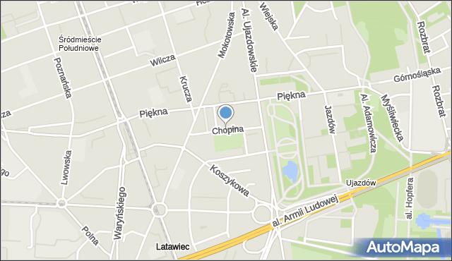 Warszawa, Chopina Fryderyka, mapa Warszawy