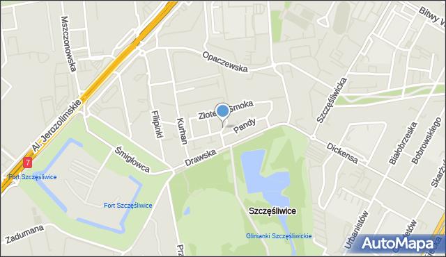 Warszawa, Chińskiej Róży, mapa Warszawy