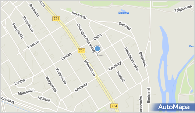 Warszawa, Chorągwi Pancernej, mapa Warszawy