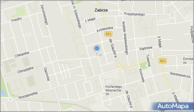 Zabrze, Chodkiewicza Jana Karola, hetm., mapa Zabrza