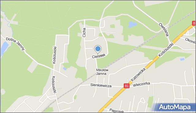 Mikołów, Cienista, mapa Mikołów