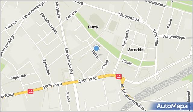 Radom, Cicha, mapa Radomia