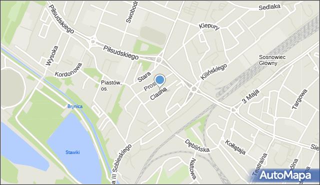 Sosnowiec, Ciasna, mapa Sosnowca