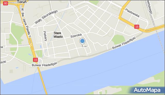 Toruń, Ciasna, mapa Torunia