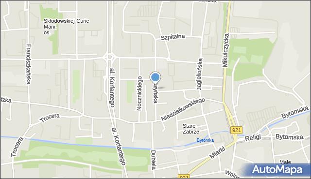 Zabrze, Cieszyńska, mapa Zabrza