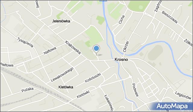 Krosno, Cmentarna, mapa Krosna