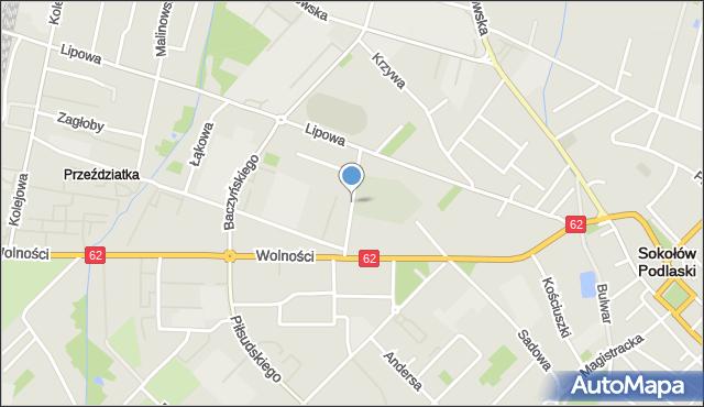 Sokołów Podlaski, Cmentarna, mapa Sokołów Podlaski