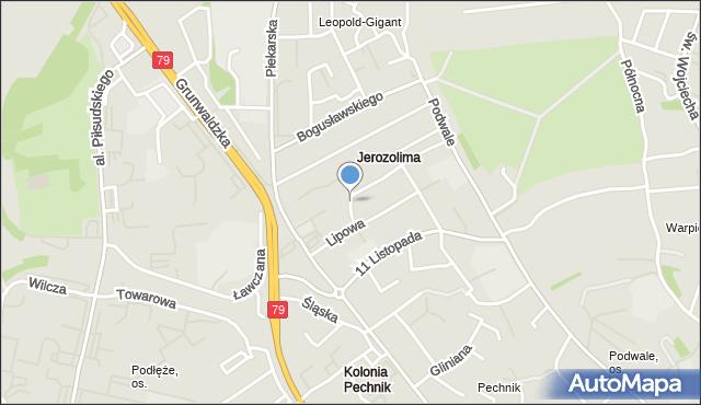 Jaworzno, Cyprysowa, mapa Jaworzno
