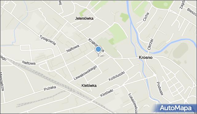 Krosno, Czuchry Józefa, mapa Krosna