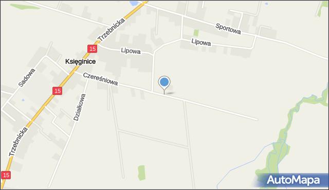 Księginice gmina Trzebnica, Czereśniowa, mapa Księginice gmina Trzebnica