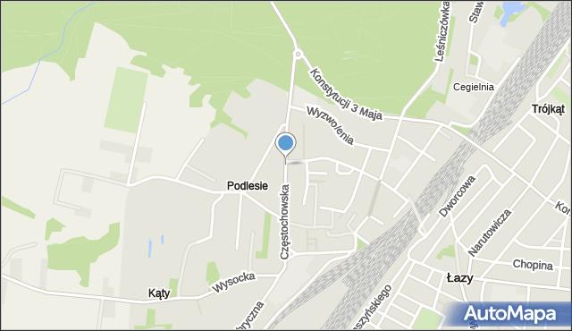 Łazy powiat zawierciański, Częstochowska, mapa Łazy powiat zawierciański