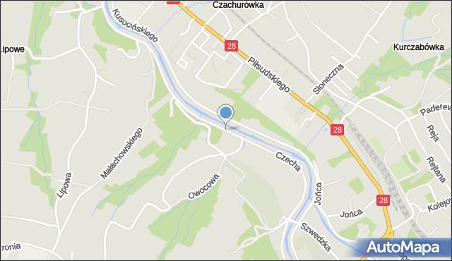 Limanowa, Czecha Bronisława, mapa Limanowa
