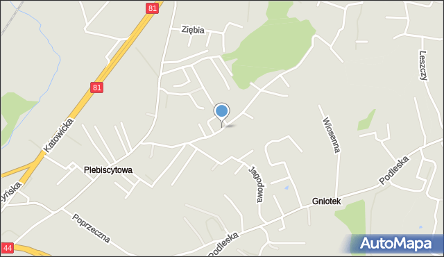 Mikołów, Czereśniowa, mapa Mikołów