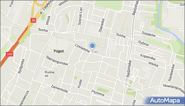 Sosnowiec, Czeladzka, mapa Sosnowca