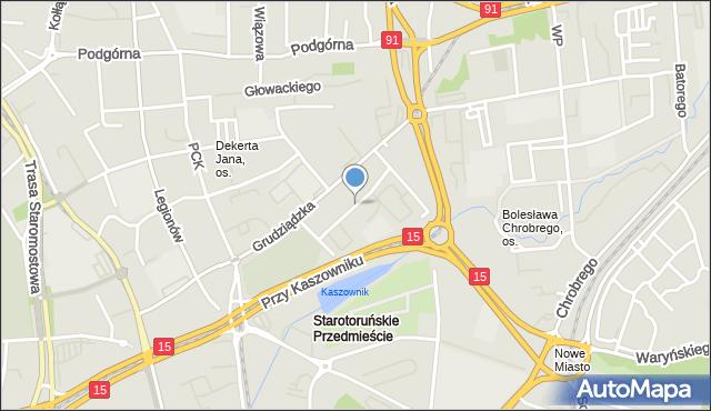 Toruń, Czarnieckiego Stefana, hetm., mapa Torunia