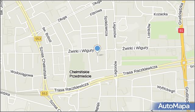 Toruń, Czecha, mapa Torunia