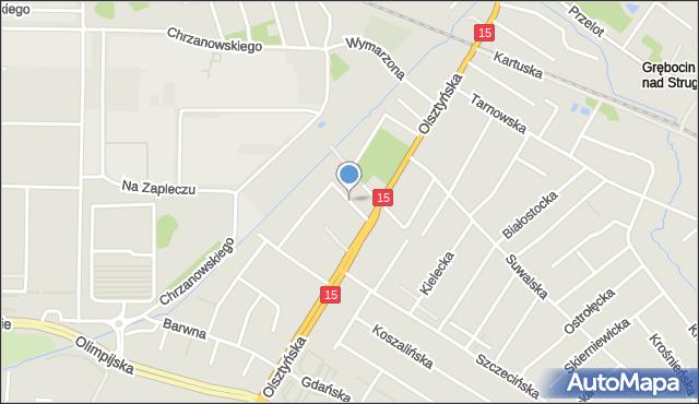 Toruń, Czekoladowa, mapa Torunia