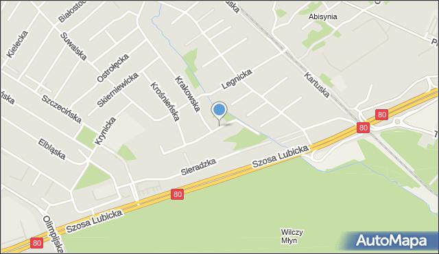 Toruń, Częstochowska, mapa Torunia