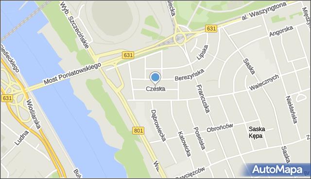 Warszawa, Czeska, mapa Warszawy