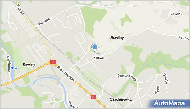 Limanowa, Darniowa, mapa Limanowa