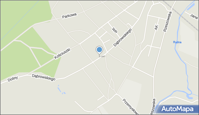 Rudnik nad Sanem, Dąbrowskiego Jarosława, gen., mapa Rudnik nad Sanem