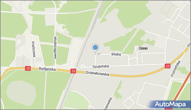 Toruń, Daleka, mapa Torunia