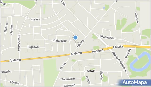 Toruń, Dandelskiego Zdzisława, mapa Torunia