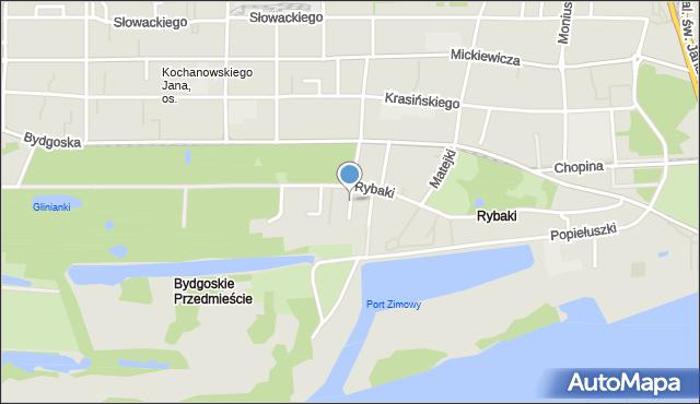 Toruń, Danielewskiego Ignacego, mapa Torunia