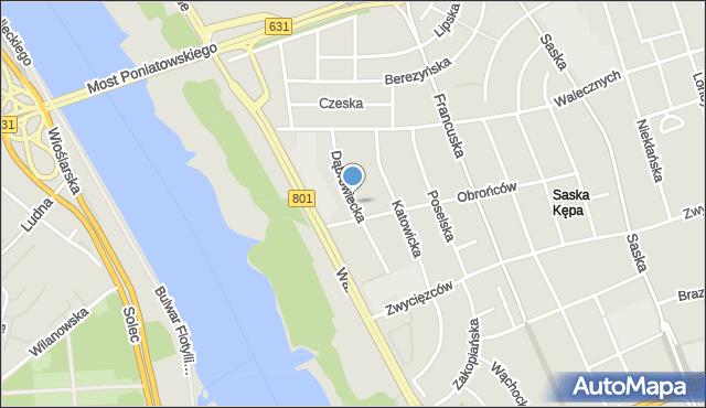 Warszawa, Dąbrowiecka, mapa Warszawy