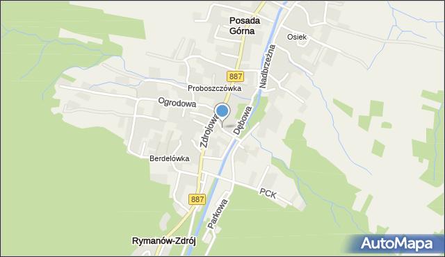 Rymanów-Zdrój, Dębowa, mapa Rymanów-Zdrój