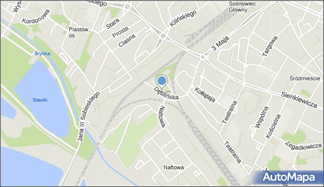 Sosnowiec, Dęblińska, mapa Sosnowca