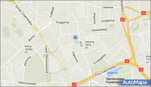 Toruń, Dekerta Jana, mapa Torunia