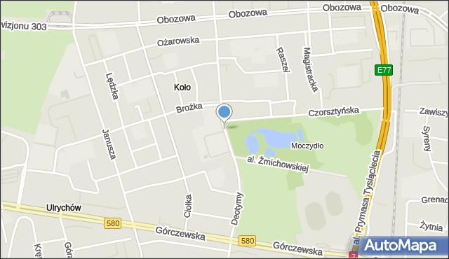 Warszawa, Deotymy, mapa Warszawy