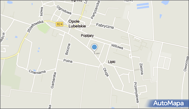 Opole Lubelskie, Długa, mapa Opole Lubelskie