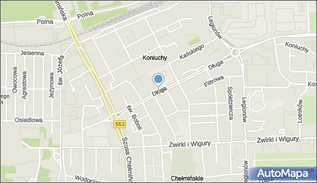 Toruń, Długa, mapa Torunia