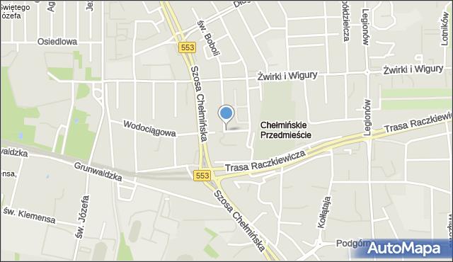 Toruń, Długosza Jana, mapa Torunia