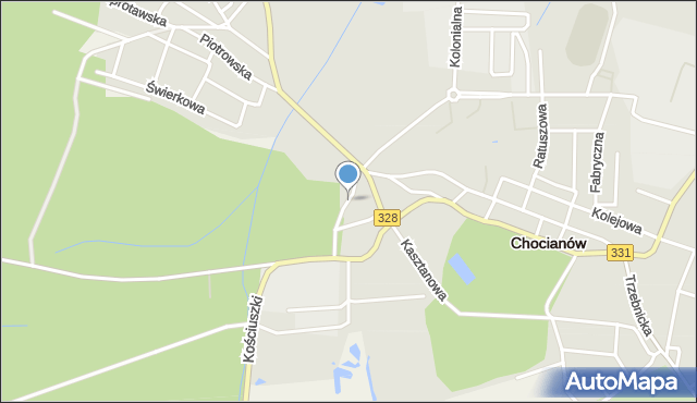 Chocianów, Dominialna, mapa Chocianów