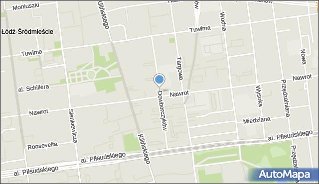 Łódź, Dowborczyków, mapa Łodzi