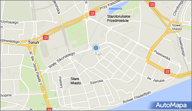 Toruń, Dominikańska, mapa Torunia