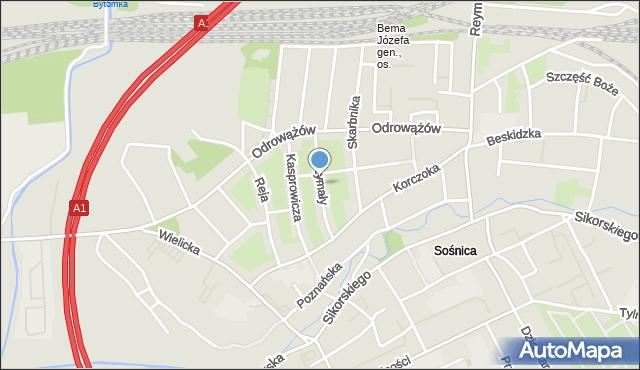 Gliwice, Drzymały Michała, mapa Gliwic