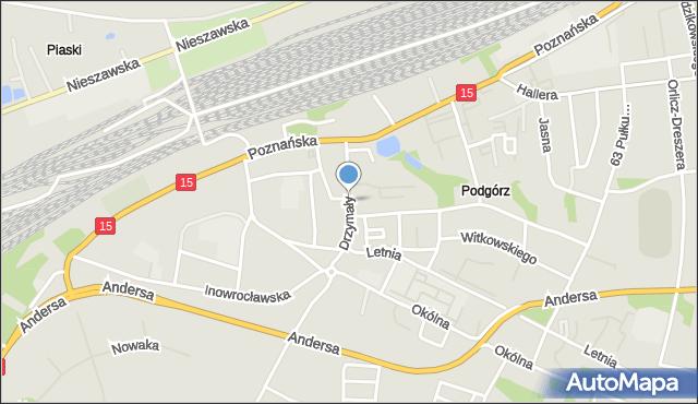 Toruń, Drzymały Michała, mapa Torunia