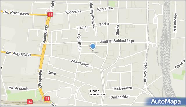 Częstochowa, Dunikowskiego Ksawerego, mapa Częstochowy