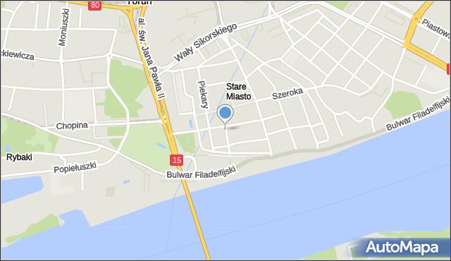 Toruń, Ducha Świętego, mapa Torunia