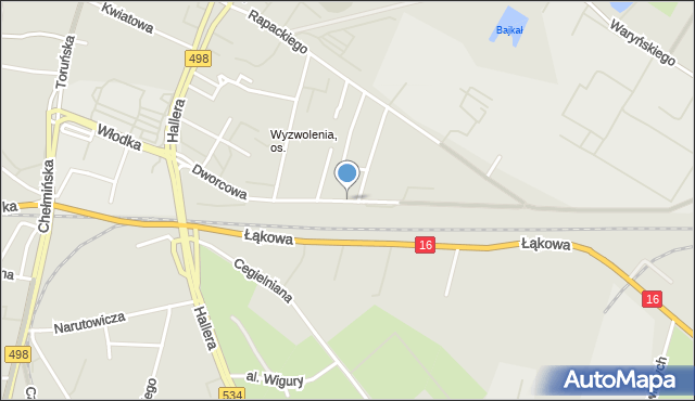 Grudziądz, Dworcowa, mapa Grudziądza