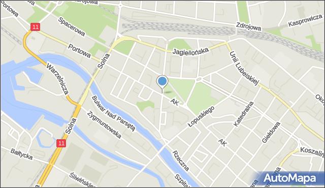 Kołobrzeg, Dworcowa, mapa Kołobrzegu