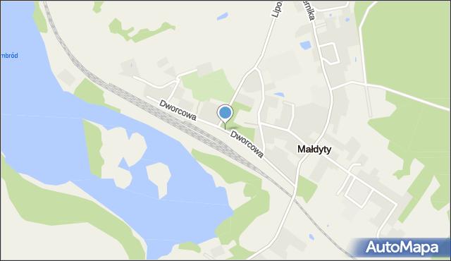 Małdyty, Dworcowa, mapa Małdyty
