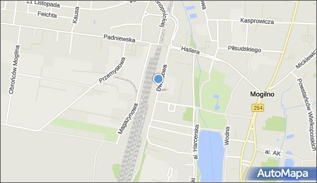 Mogilno, Dworcowa, mapa Mogilno