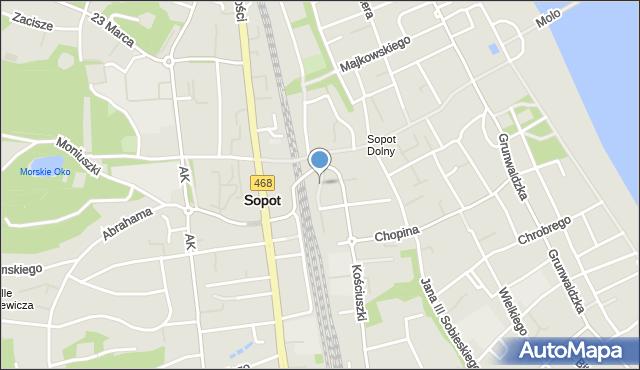 Sopot, Dworcowa, mapa Sopotu